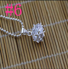 925 Sterling Silver Women Jewelry Crystal Ball Pendants Necklace Chain