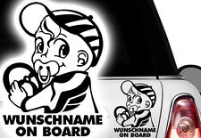 1x Aufkleber WUNSCHNAME ON BOARD Sticker Hangover Baby Auto Kind fährt mit FUNy
