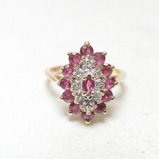 Estate 10K Yellow Gold Round And Marquise Berry Red Ruby Diamond Ring 1.00 Ct