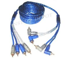 FOUR 4 CHANNEL RCA CABLES HIGH END 3X SHIELDED 9 FEET - 4CH - AMP INSTALL