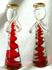 Glass Blown Clear Holiday Angels with Red Twirl and Gold-Tone Halos Two (2)