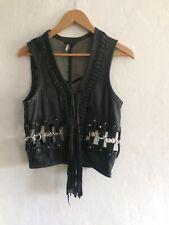 TopShop Premium  leather waistcoat - harness style rings -  sleeveless jacket S