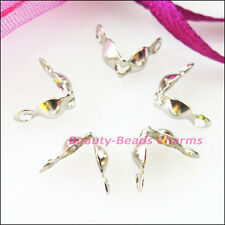 100Pcs Charlotte End Crimp Bead Tip Gold Silver Bronze Plated Connectors 4x7mm