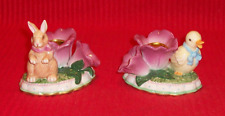 Avon Duck & Bunny Flower Candle Holders