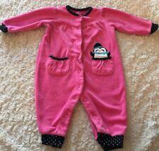 Carters Girls Pink Black Penguin Velour Long Sleeve Romper 6 Months
