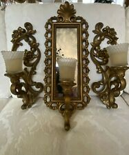 3 Pc Vtg 1972 Homco Hollywood Regency Scroll 2 Wall Sconce Candle Holder Mirror
