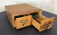 Antique Library File Box-Med  Oak Wood Card Catalog Library File Box-2 Drawer