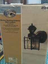NEW HAMPTON BAY Bayside Mission 150° Black Motion-Sensing Outdoor Wall Lantern S