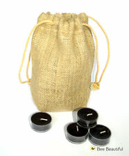 25 x Black Tea lights in drawstring Jute bag