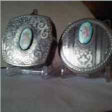 Art Deco Vintage Pastel Champleve Guilloche Enamel Silver Compacts Lot Of 2