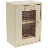 Rubberwood Kitchen Cream Egg Holder Cabinet Shelf Cupboard Storage Window Mesh