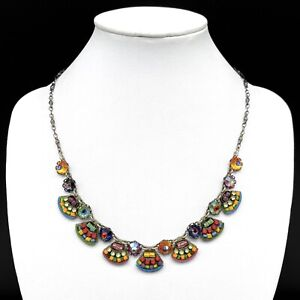Ayala Bar Colorful Mosaic Glass Beaded Rhinestone Necklace Vibrant