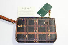 NWT RALPH LAUREN Black & Brown Horsebit GALLAWAY 100% Leather Strap Med Wristlet