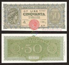 ITALY 50 Lire, *A* Prefix, 1944, P-74, UNC
