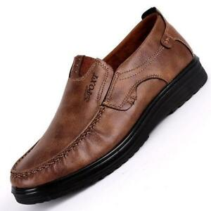 Men's New Leather Shoes Soft Sole Leisure Driving Antislip Loafers Large Size