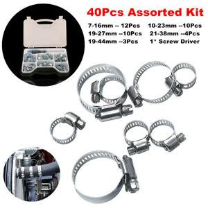 Hose Clamp 40Pcs Steel 1 Ear Clip Rings 7-44mm Repair Pipe + Screw Driver w/ Box