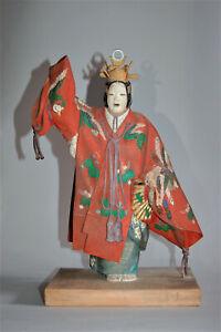 Vintage wooden figure, scene from noh play Hagoromo, by Shosaburo, Kaga Japan