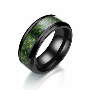 8mm Classic Silver Gold Celtic Dragon Black Stainless Steel Ring Men's Jewelry