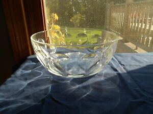 "Pyrex Large Clear Teardrop Ovenware Bowl Serving Dish Thumbprint 10 1/4"" Vintage"