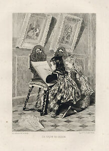 """Adolphe Lalauze original etching """"The Drawing Lesson"""""""