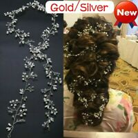 Pearls Wedding Hair Vine Crystal Bridal Accessories Diamante Headpiece CA