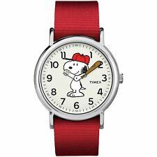 Timex TW2R41400, Peanuts-Snoopy Weekender Red Slip Thru Fabric Watch