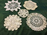 "5 Pcs White & Ivory Crocheted  Cotton Handmade Table Doilies  5-10"" Diameter"