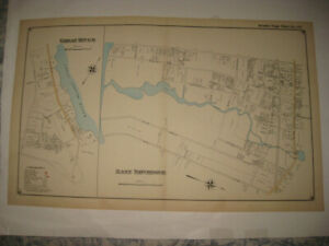 SUPERB ANTIQUE 1915 GREAT RIVER EAST PATCHOGUE LONG ISLAND NEW YORK HANDCOLR MAP