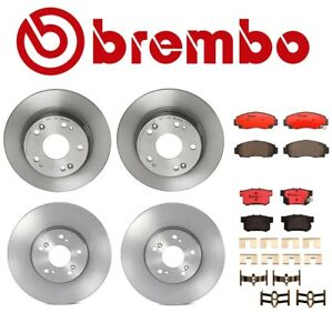 For Acura TSX Honda Accord Front & Rear Disc Brake Rotors and Pads Brembo Kit