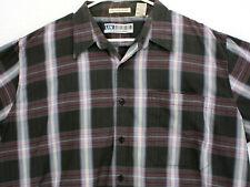Vtg UNTIED Single Needle Black Red Tartan Plaid S/S Button Shirt Men's Reg XL