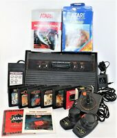 Atari 2600 Lot Bundle Video Game Console W One Joystick Paddles 9 Games Booklets
