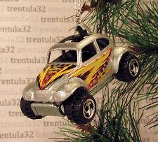 VW BAJA BUG VOLKSWAGEN BEETLE SILVER YELLOW CHRISTMAS TREE ORNAMENT XMAS