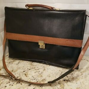 "BUGATTI Black  Vintage Leather Bag Briefcase Attaché Portfolio 16.5""x12""x4"""