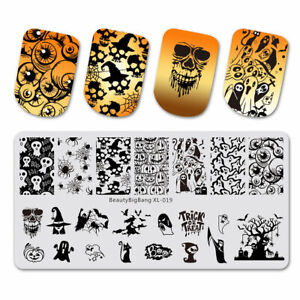 Nail Art Stamping Plate Image Halloween Trick or Treat Ghost Spider Skull BBBX19