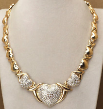 Hugs and Kisses XO O Cz x Large Heart Real 14k Gold Necklace with Bracelet Set