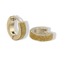 GOLD  SURGICAL STAINLESS STEEL HUGGIE HOOP STUD EARRINGS CRYSTAL* UK SELLER