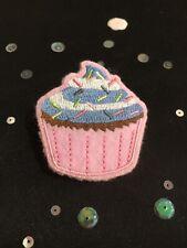 Handmade Pink Cupcake Brooch. Vintage Style Cupcake Pin Badge. Pink Cupcake