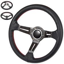 "14"" Steering Wheel Perforated Dished Carbon Fiber Sedan Car 70mm PCD Dish Shape"