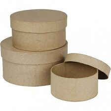 Set of 3 Paper Mache Nesting Round Boxes