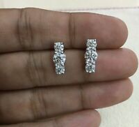14K White Gold Natural Round Diamond Threestone Solitaire Stud Earrings 1.56 cts