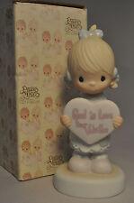 Precious Moments - God Is Love Dear Valentine - E-7154 - Girl With Heart