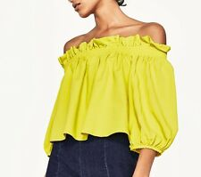 Zara Off Shoulder Lime Green Bardot Top M Medium 10 Yellow New BNWT
