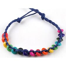 Rainbow Thread Bracelet with Wooden Beads Gay Lesbian