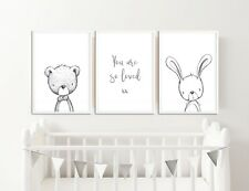 Neutral Nursery Decor / Pictures / Prints / You Are So Loved / Rabbit & Bear