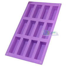12-rectangle Cake Candy Chocolate Mold Bar Soap Ice Cube Flexible Silicone Mould