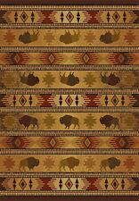 "Buffalo themed Rug Western TATONKA LODGE  3'11""x 5'3"" Cabin Rustic Western #2243"