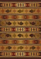 "Buffalo themed Rug Western TATONKA LODGE  3'11""x 5'3"" Cabin Rustic Western #2243"