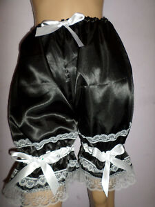 BLACK SATIN WHITE LACE FRENCH MAID  BLOOMERS VICTORIAN LOOK  30-46W