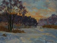 Original Winter Sunset Nature Ukraine Landscape Oil Painting Impressionism ART