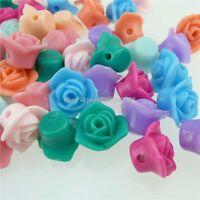 13034 100PCS MIXED Acrylic Mixed Color Rose Flower Spacer Beads Charms